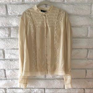 Ralgh Lauren 100% Silk Lace Blouse Sz 14